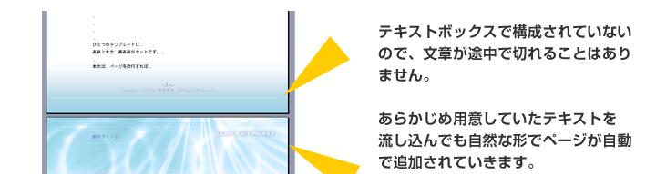 テキストボックスで構成されていないので、文章が途中で切れることがありません。あらかじめ用意していたテキストを流し込んでも自然なかたちでページが自動で追加されます。